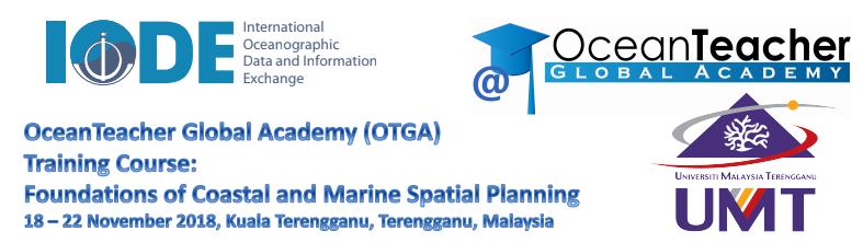 18-22/11/2018: Khóa đào tạo OTGA-INOS/UMT: Nền tảng quy hoạch không gian biển và ven biển (tên khóa học tiếng Anh Foundations of Coastal and Marine Spatial Planning – viết tắt là CMSP) tại  Kuala Terengganu, Malaysia